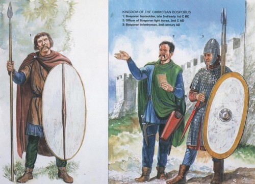 """Сарматы на службе Рима: 1 - язиг-""""дракононосец"""" (II-III в. н.э.); 2 - сарматский гвардеец (300 г. н.э.)"""