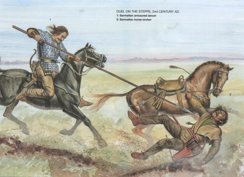 Поединок в степи (II в. н.э.): 1 - сарматский тяжело вооруженный конный копейщик; 2 - сарматский конный лучник