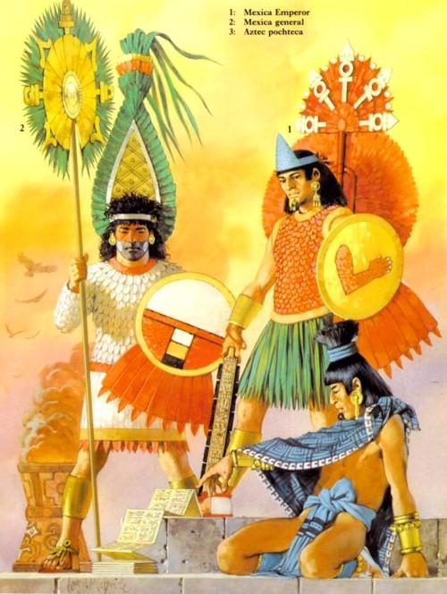 1 - император ацтеков; 2 - мексиканский генерал; 3 - ацтекский почтовый