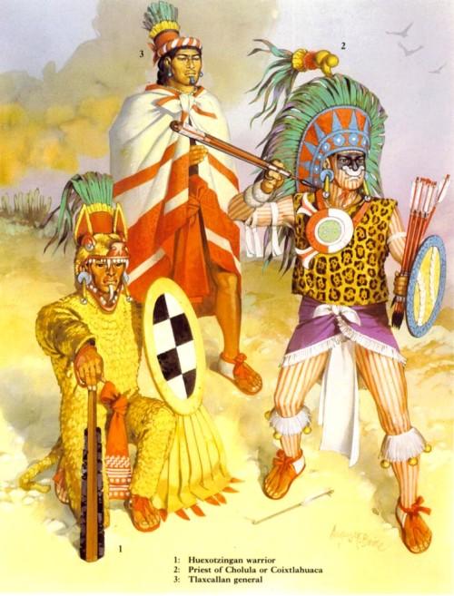 1 - хуексотзинганский воин; 2 - жрец Чолулы из Коикстлахуаки; 3 - тласкалланский генерал.
