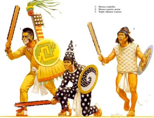 """1 - мексиканский """"куачик""""; 2 - мексиканский воин-жрец; 3 - воин """"тройственного союза""""."""