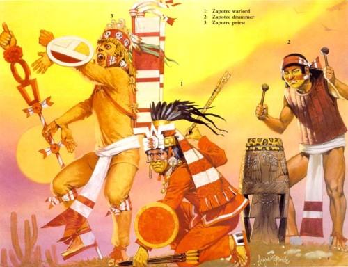 1 - запотекский военачальник; 2 - запотекский барабанщик; 3 - запотекский жрец.