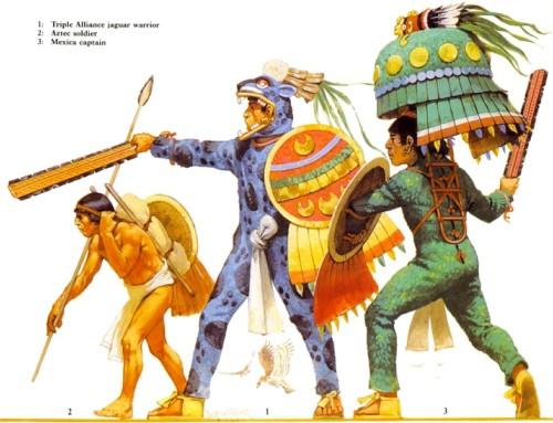 """1 - """"воин-ягуар"""" """"тройственного союза""""; 2 - ацтекский воин; 3 - мексиканский военачальник."""