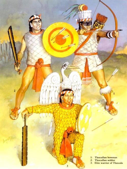 1 - тласкалланский лучник; 2 - тласкалланский мечник; 3 - элитный воин из Тласкалы.