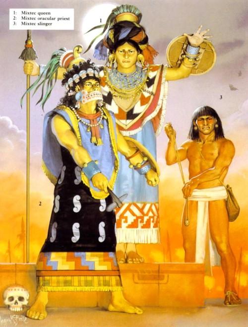 1 - королева микстеков; 2 - микстекский жрец-оракул; 3 - микстекский пращник.