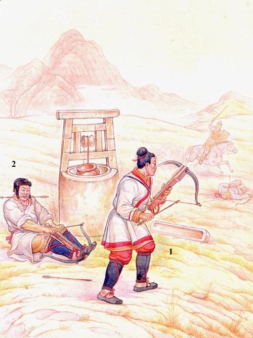 Китайские арбалетчики в бою: 1 - арбалетчик с взведенным арбалетом; 2 - арбалетчик, натягивающий тетиву.