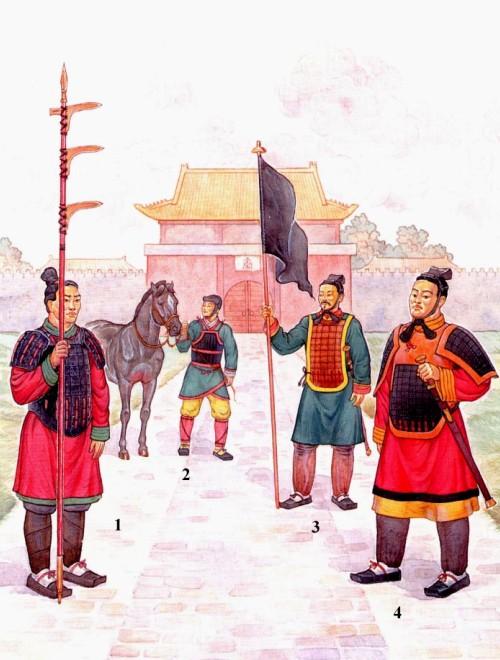 """Гвардия Цинь Шихуана: 1 - пеший гвардеец с тройным клевцом """"цзи""""; 2 - кавалерист в облегченных доспехах; 3 - воин со знаменем Империи Цинь; 4 - офицер среднего ранга."""