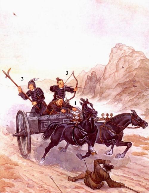 """Колесница царства Цинь: 1 - возничий; 2 - тяжеловооруженный воин с клевцом """"цзи""""; 3 - 2 - тяжеловооруженный воин с луком."""