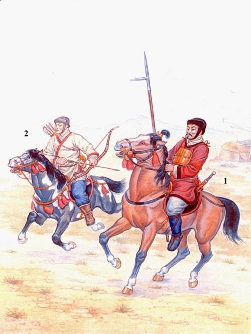 Китайская кавалерия эпохи Хань: 1 - легковооруженный всадник; 2 - конный лучник.