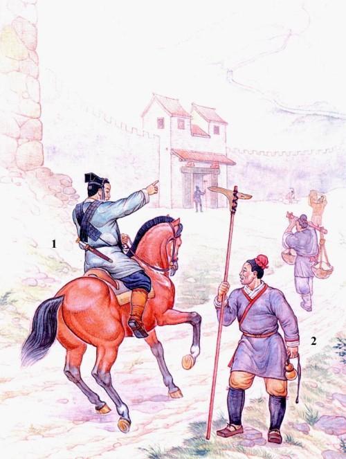 """Гарнизон сторожевой башни Великой Китайской стены: 1 - конный посыльный; 2 - пехотинец из приграничных военных поселений с клевцом """"цзи""""."""