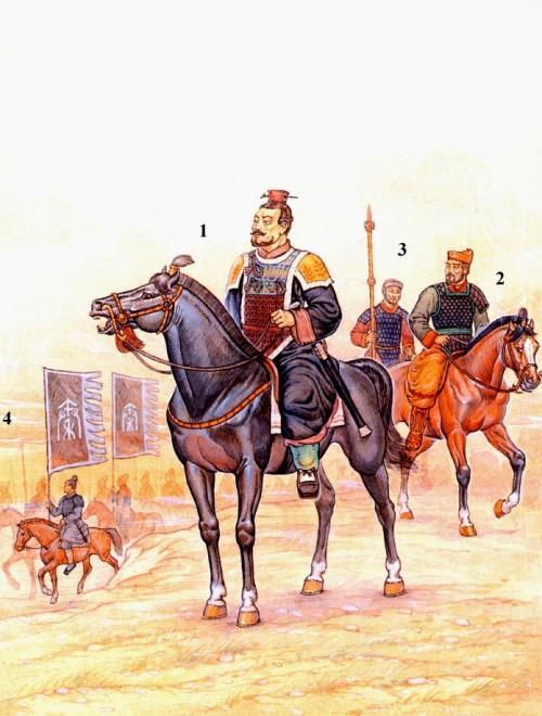 Император Цинь Шихуан в походе: 1 - император Цинь Шихуан в парадном облачении; 2 - офицер; 3 - конный воин личной охраны императора; 4 - конные воины со знаменами царства Цинь.