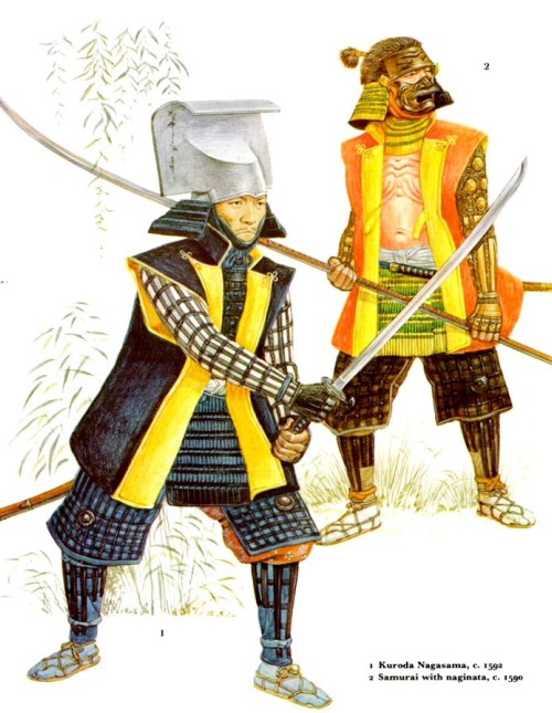 1 - Курода Нагасама (1592 г.); 2 - самурай с нагинатой (1590 г.).