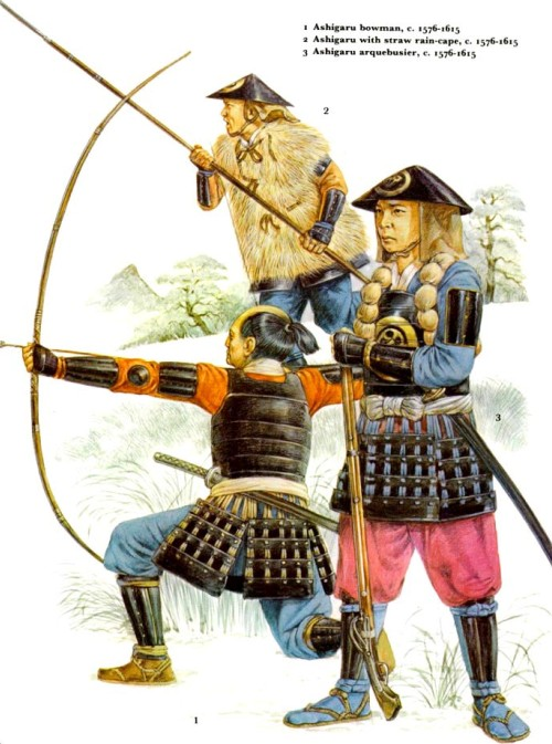 1 - лучник-ашигару (1576-1615 гг.); 2 - ашигару в соломенном дождевике (1576-1615 гг.); 3 - аркебузир-ашигару (1576-1615 гг.).