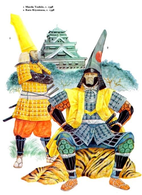1 - Маеда Тошийи (1598 г.); 2 - Като Кийомаса (1598 г.).