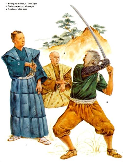 1 - молодой самурай (1600-1700 гг.); 2 - пожилой самурай (1600-1700 гг.); 3 - ронин (1600-1700 гг.).