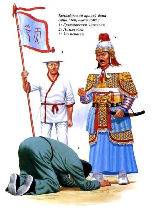 Командующий армией династии Мин (около 1500 г.): 1 - гражданский чиновник; 2 - полководец; 3 - знаменоносец.