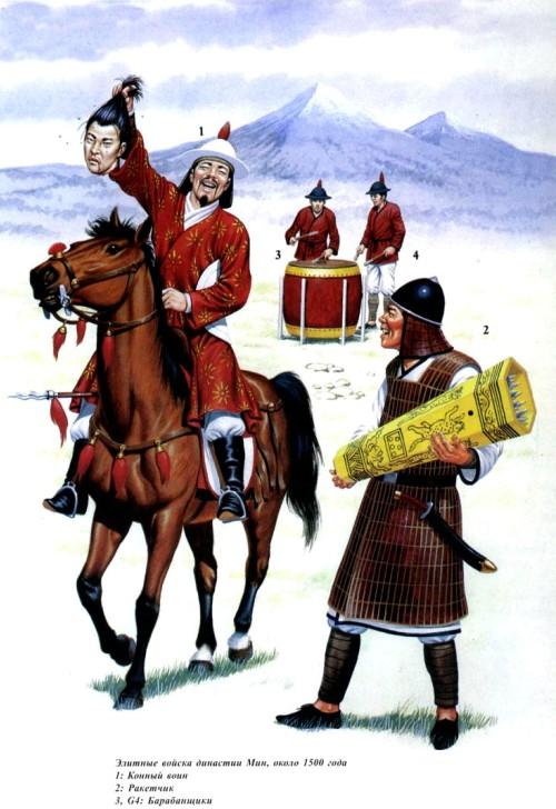 Элитные войска династии Мин (около 1500 г.): 1 - конный воин; 2 - ракетчик; 3, 4 - барабанщики.