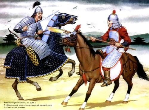 Конница периода Юань (около 1260 г.): 1 - монгольский тяжеловооруженный конный воин; 2 - китайский всадник.