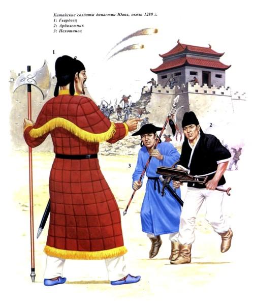 Китайские солдаты династии Юань (около 1280 г.): 1 - гвардеец; 2 - арбалетчик; 3 - пехотинец.
