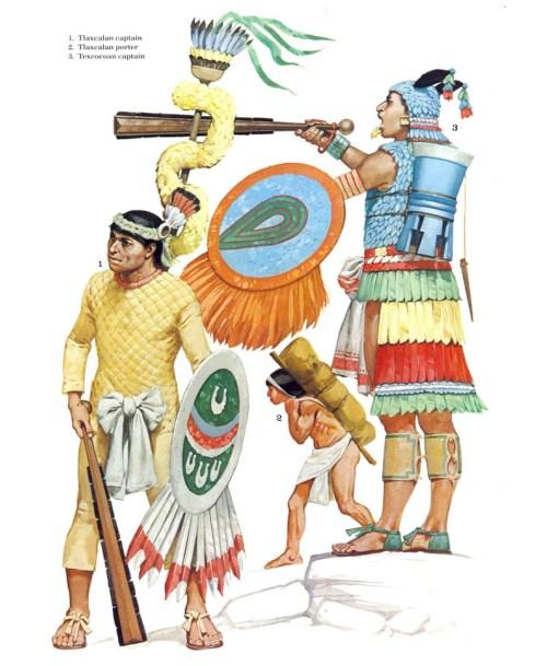 1 - ацтекский лучник; 2 - ацтекский ополченец; 3 - вождь ацтекских союзников.