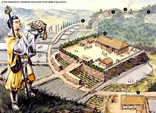 """Нинзя, переодетый как """"ямабуши"""", возвращается в свою деревню в провинции Ига."""