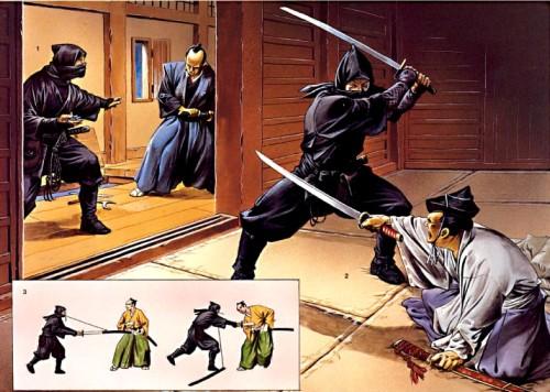 Нинзя на войне - атака на дворец даймио: 1 - нинзя поражает воина-охранника с помощью сюрикена; 2 - второй нинзя убивает даймио; 3 - обманная атака нинзя с помощью ножен меча.
