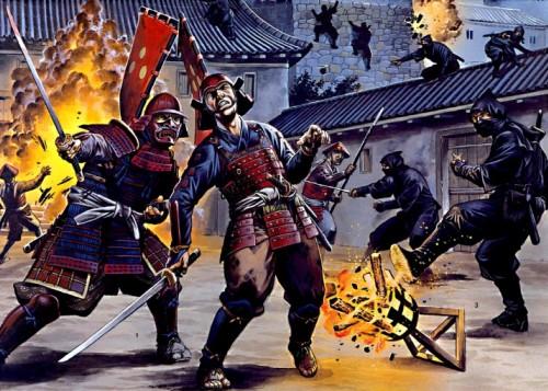 Нинзя в сражении - проникновение в замок во время осады: 1 - нинзя, переодетый в форму защитника замка, убивает солдата; 2 - нинзя, бросающий ручные бомбы; 3 - нинзя, опрокинувший осветительную жаровню.