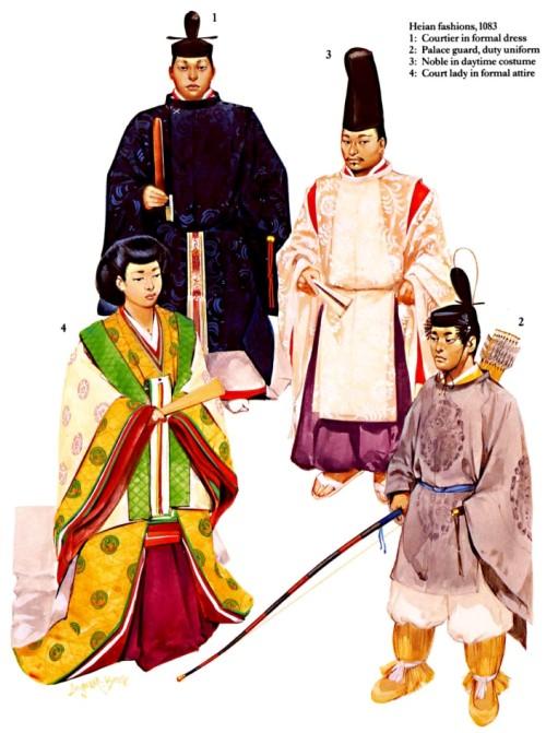 Костюмы эпохи Хэйан (1083 г.): 1 - придворный в официальной одежде; 2 - дворцовый гвардеец в повседневной одежде; 3 - нобиль в дневной одежде; 4 - знатная дама в официальной одежде.