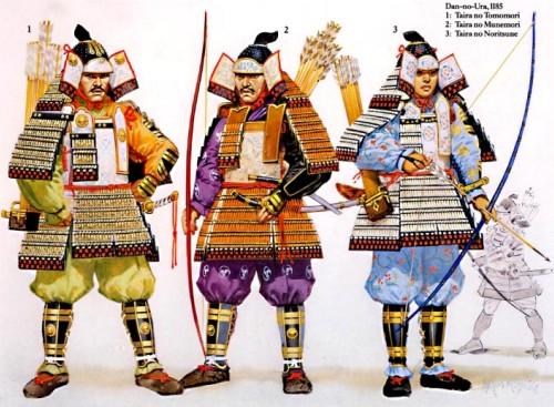 Дан но Ура (1185 г.): 1 - Тайра но Томомори; 2 - Тайра но Мунемори; 3 - Тайра но Норитсуне.