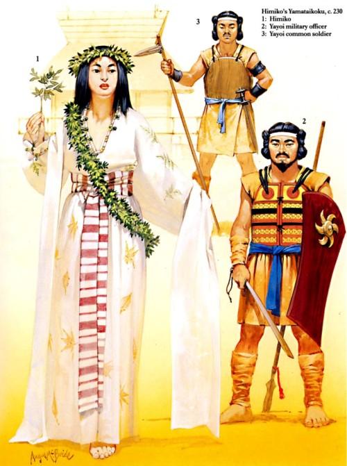 Империя Химико (ок. 230 г.): 1 - Химико; 2 - офицер; 3 - солдат-ополченец.