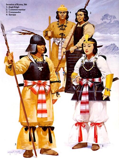 Вторжение из Кореи (366 г.): 1 - Джингу Коджо; 2 - солдат-ополченец; 3 - командир; 4 - слуга.