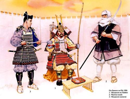 Го-Саннен но Эки (1086 г.): 1 - Минамото но Йошии; 2 - воин-монах; 3 - самурай Минамото.