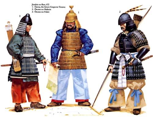 Джиншин но Ран (672 г.): 1 - Ояма, будущий император Тенму; 2 - Оромо но Макута; 3 - Оромо но Фукеи.