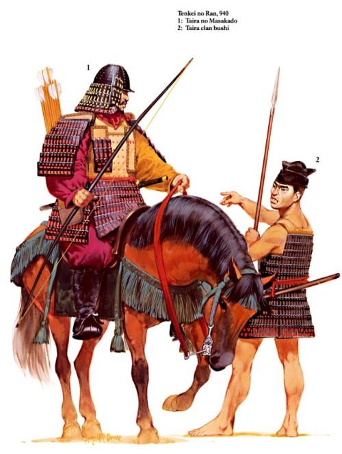 Тенкей но Ран (940 г.): 1 - Тайра но Масакадо; 2 - пехотинец клана Тайра.