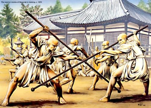 Воины-монахи в битве при Юджи (1180 г.).