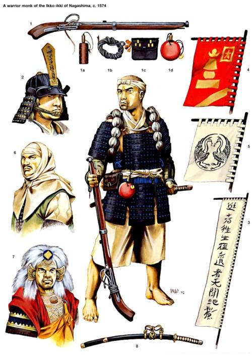 """Воинах-монах икко-икки: 1 - аркебуза; 2 - голова воина-монаха; 3 - знамя Икко-икки; 4 - знамя-""""сотоба"""" икко-икки; 5 - знамя отряда икко-икки из провинции Кага; 6 - Уесуги Кеншин (1530-78 гг.); 7 - Такеда Шинген (1521-73 гг.); 8 - меч-""""катана""""."""