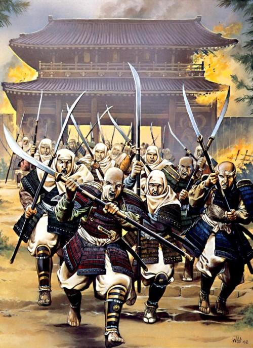 """Воины-монахи с горы Хийя шествуют по улицам Киото со своими """"микоси"""" (1146 г.)."""