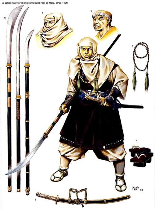 """Воин-монах из Нары или Маунт Хийи (ок. 1100 г.): 1 - один из способов ношения головного покрывала; 2 - головная повязка (хачимаки); 3 - буддистские четки; 4 - деревянные """"сандалии""""; 5 - меч-""""тачи""""; 6 - различные типы нагинаты."""