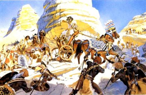 Сражение египетского фараона Хоремхаба с нубийцами (Верхний Нил, конец XIV в. до н.э.).