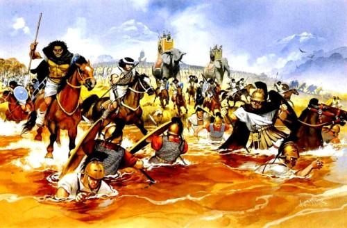 Карфагенская нубийская кавалерия преследует римлян в реке Требия (218 г. до н.э.).