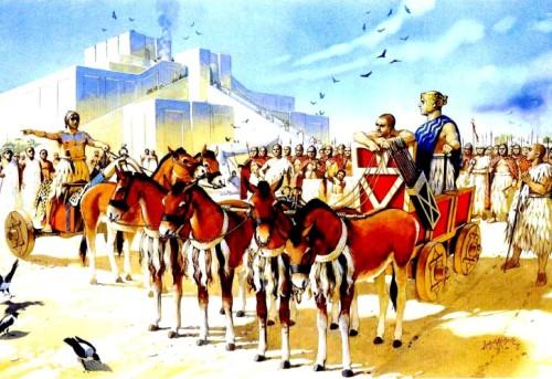 Шумерское войско собирается в поход у стен храма (Южный Ирак, около 2500 г. до н.э.).
