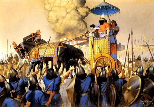 Тиглат-Пайласар III, царь Ассирии, пред приветствующей его армией (конец VIII в. до н.э.).