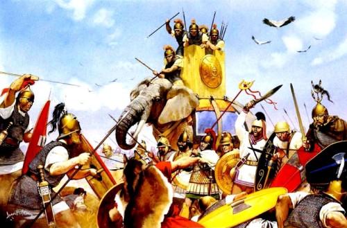 Карфагенские боевые слоны атакуют римлян (218 г. до н.э.).