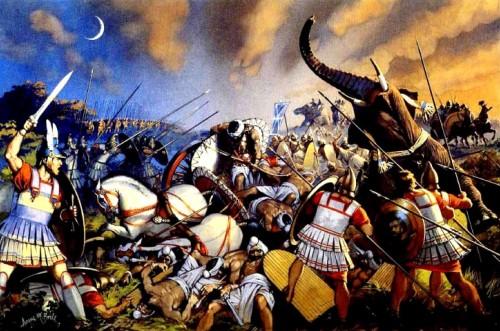 Армия Александра Великого разбивает индийское войско при Гидаспе (Северная Индия, 336 г. до н.э.).