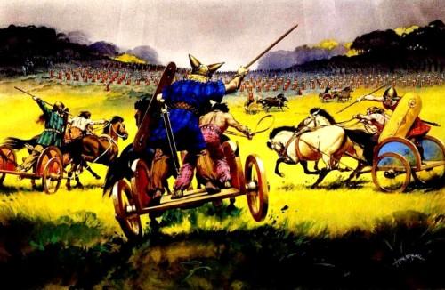Бритские боевые колесницы атакуют римские боевые порядки (Южная Британия, I в. до н.э.).