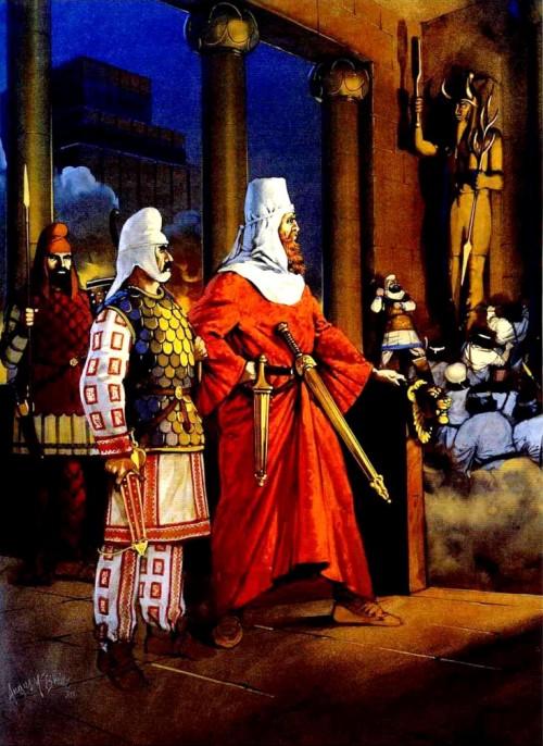 Кир, царь Персии, в покоренном Вавилоне (539 г. до н.э.).
