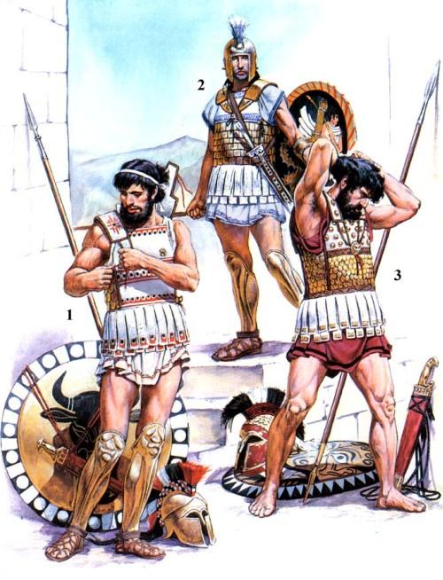 1 - фокейский гоплит (первая половина V в. до н.э.); 2 - гоплит (конец VI в. до н.э.); 3 - афинский гоплит (первая половина V в. до н.э.).
