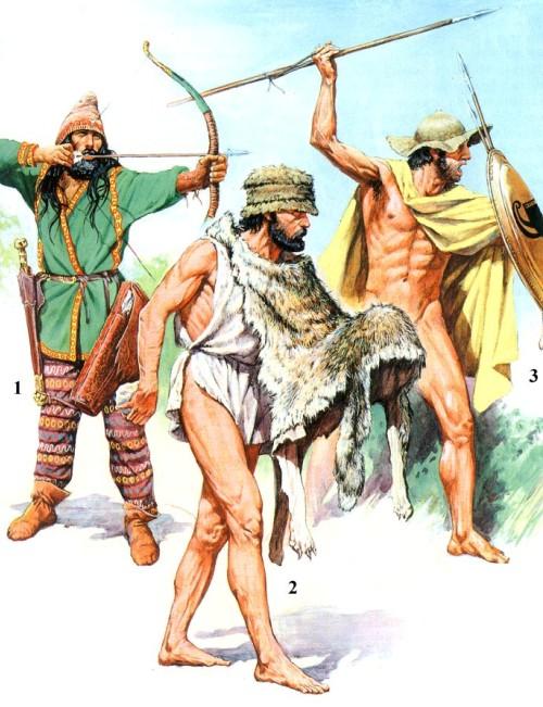 """1 - скифский лучник (V в. до н.э.); 2 - легковооруженный воин """"псилой"""" (V в. до н.э.); 3 - афинский метатель дротиков (вторая половина V в. до н.э.)."""