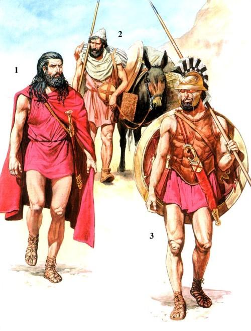 1 - греческий военачальник Ксенофонт (вторая половина V в. до н.э.); 2 - слуга гоплита; 3 - греческий гоплит-наемник Кира Младшего (конец V в. до н.э.).