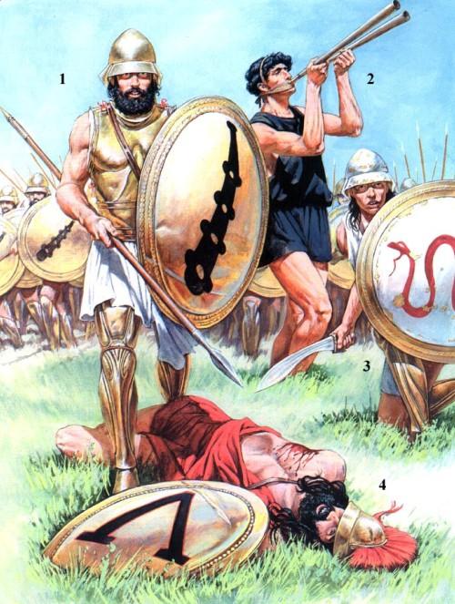"""1 - фиванский гоплит предположительно из """"Священного Отряда"""" (IV в. до н.э.); 2 - флейтист; 3 - фиванский гоплит; спартанский гоплит (IV в. до н.э.)."""